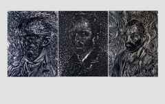 Bohemler; Vincent, The Bohemians; Vincent, 3 adet 116x 89 cm, Kumaş Üzerine Sabunla Çizim, Yerleştirilmiş Sabun Parçaları ve Toplu iğne 2016
