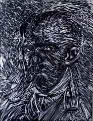 Bohemler; Vincent, The Bohemians; Vincent, 116x 89 cm, Kumaş Üzerine Sabunla Çizim, Yerleştirilmiş Sabun Parçaları ve Toplu iğne 2016