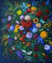 Ahmet Yeşil - 'Benim Çiçeklerim', 100x85 cm, TÜYB