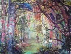 Nil Köken - 'Büyülü Orman-II / Magical Forest-II', 160x200 cm, Tüyb, 2016