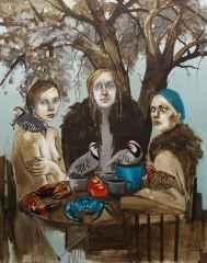 Sema Öcal - 'Hüznün kuşları / Birds of sadness', 150x120 cm, Tüyb, 2016