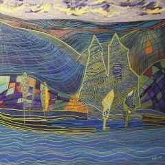 Necmettin Özlü - Peyzaj/Landspace, 70x70 cm, Tuvale akrilik boya/Acrylic on canvas, 2017