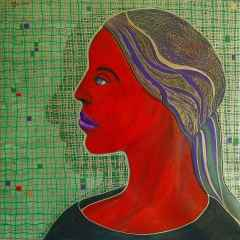Necmettin Özlü - Bir portre/ A Portrait, 70x70 cm, Tuvale akrilik boya/Acrylic on canvas, 2017