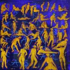 Necmettin Özlü - Bulmaca Günlükleri-I/ Puzzle Chronicles-I, 70x70 cm, Tuvale akrilik boya/Acrylic on canvas, 2017