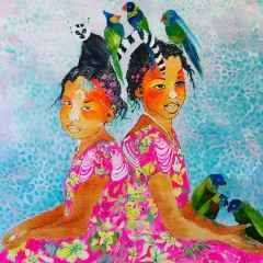 Pınar Tınç - Pembeli Kızlar/Rose Sisters, 70x70 cm, Tuvale çini mürekkebi/Ink on canvas, 2017