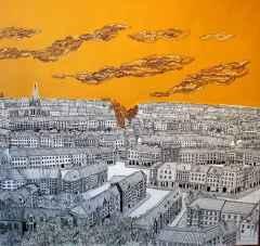Sümeyye Yuşan - Edinburg/Edinburgh, 70x70 cm, Tuvale karışık teknik/Mixed on canvas, 2017