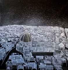 Sümeyye Yuşan - Floransa/ Florence, 70x70 cm, Tuvale karışık teknik/Mixed on canvas,2017