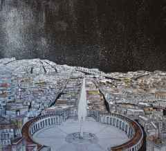 Sümeyye Yuşan - San Pietro, 70x70 cm, Tuvale karışık teknik/Mixed on canvas,2017