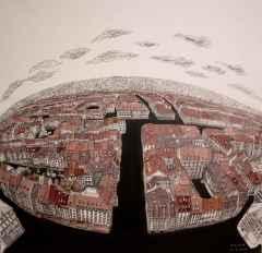 Sümeyye Yuşan - Alsas/Alsace, 70x70 cm, Tuvale karışık teknik/Mixed on canvas,2017