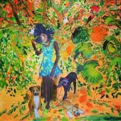 Pınar Tınç - Mango Ağacının Altında/Under the mango tree, 70x70 cm, Tuvale çini mürekkebi/Ink on canvas, 2017