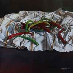 Hasan Saygın - Biberler/Chilli pepper/Piment, 70x70 cm, Tuvale yağlı boya/Oil on canvas, 2017