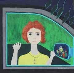 Camdaki Kız / Girl at the Window 50x50 cm, Bez Kaplı Duralit Üzerine Akrilik