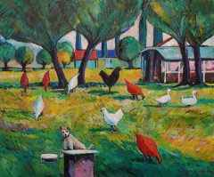 Tavuklar, 60x73 cm, TÜYB, 2018
