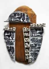'Duvar Seramiği', Serbest elle şekillendirilmiş ,sırlı stoneware ve porselen, 1260°C, 30x40 cm, 2014