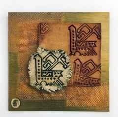 'Duvar Seramiği', Serbest elle şekillendirilmiş ,sırlı porselen ve karışık malzeme ,1260°C, 35x35 cm, 2016
