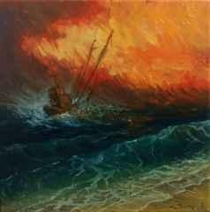 'Fırtınada balıkçı teknesi', 25x25 cm, TÜYB, 2017