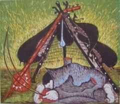 40x56 cm - Ağaç Baskı - 2005 - Şaman- IV
