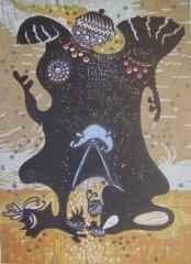 47x34 cm - Ağaç Baskı - 2004 - Şaman-II (trans halinde)