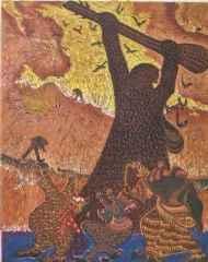 90x72 cm - Ağaç Baskı - 2006 - Şamanların Dansı