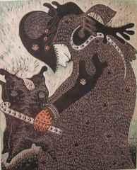 110x90 cm - Ağaç Baskı - 2005 - Ayin Töreninde Şaman