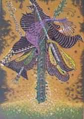 72x50 cm - Ağaç Baskı - 2006 - Şamanın Çalgıları