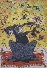 72x50 cm - Ağaç Baskı - 2005 - Kuşlarla Dans