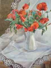 'Poppies in the white vase', 37x54 cm, watercolour, 2014