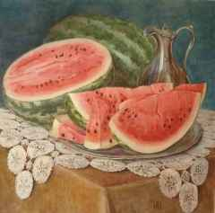 'Watermelon and a jug', 55x55 cm, watercolour, 2014