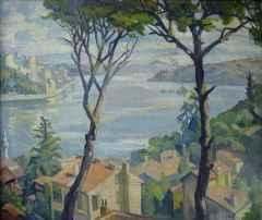 Selahattin Teoman<br />'Kanlıca Sırtlarından', 60x73 cm, Tuval Üzeri Yağlı Boya, 1957