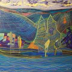 Necmettin Özlü - Peyzaj/Landspace, 70x70 cm, Tuvale akrilik boya, 2017