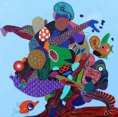 Levent Oyluçtarhan - Alga Marina, 70x70 cm, Tuvale yağlı boya, 2017