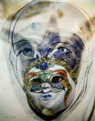 'Maskeli Kadın'<br />74x59 cm, Hahnemühle KÜKT, 2014