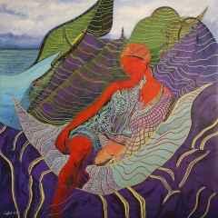 Divanda Genç Kız - 130x130 cm, TÜAB
