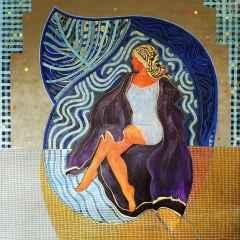 Mor Kaftanlı Kadın - 130x130 cm, TÜAB