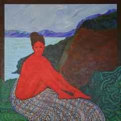Kırmızı Kadınlı Peyzaj - 130x130 cm, TÜAB