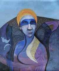 Mavi Maskeli Kız - 60x50 cm, TÜAB