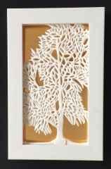Kayın Ağacı- II, 37x 22,5x 3,5 cm, Döküm ve Elle Şekillendirme, Porselen, 1200 °C, 2017