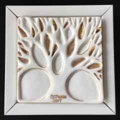 Çınar Ağacı-IV, 12,5x12,5x5 cm, Porselen, Dökümle Şekillendirme, 1200°C, 2017