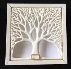Çınar Ağacı-I, 19,5x19,5x4 cm, Porselen, Dökümle ve Elle Şekillendirme, Porselen, 1200 °C, 2017