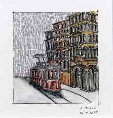 'İstiklal caddesi', 5.5x6 cm, Kağıt Üzerine Suluboya, 2015