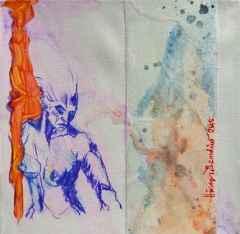Hüseyin Öznülüer – 'Ünzile', 25x25 cm, Karışık Teknik, 2015