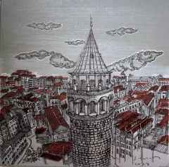 Sümeyye Yuşan - 'Galata kulesi', 25x25 cm, TÜKT, 2017
