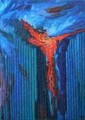 81x65 cm - TÜYB - 2012 - Mavi Üzerine Notlar-1