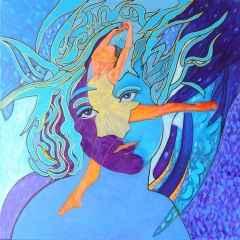 Mavi Kız ve Balerin, 60x60 cm, TÜAB