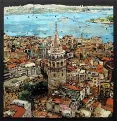 Emre Lüle - 'İstanbul kanatlarımın altında / Istanbul is under my wings', 90x93 cm, Polyplastic, 2016