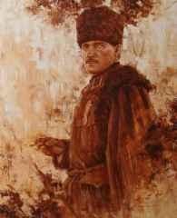 Fatih Karakaş - 'Atatürk', 80x65 cm, Tüyb, 2016