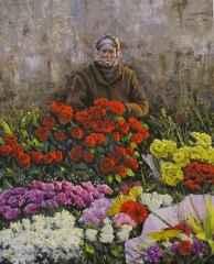 Fatih Karakaş - 'Kadıköy çiçekçisi / Kadıköy florist', 80x65 cm, Tüyb, 2016