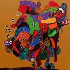 Levent Oyluçtarhan - Alga Marina, 70x70 cm, Tuvale yağlı boya/Oil on canvas, 2017