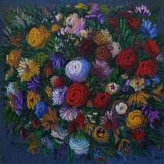 Ahmet Yeşil - Benim Çiçeklerim/My Flowers, 70x70 cm, Tuvale yağlı boya/Oil on canvas, 2017