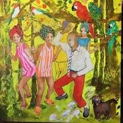 Pınar Tınç - Kutlama/The Party, 70x70 cm, Tuvale çini mürekkebi/Ink on canvas, 2017